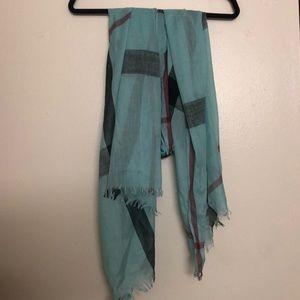 Light blue/teal large plaid scarf